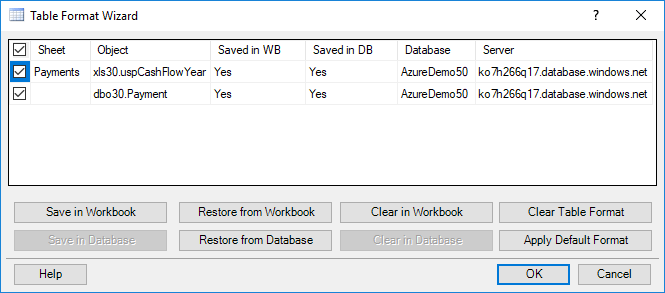 Example of Table Format Wizard
