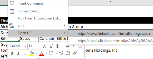 Example of the context menu